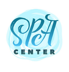 Spa center logo stroke blue water circle vector