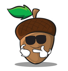 Super cool acorn cartoon character style vector