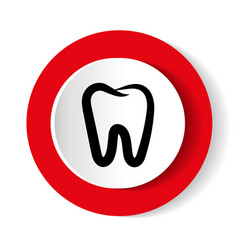 Teeth icon dentist flat sign vector