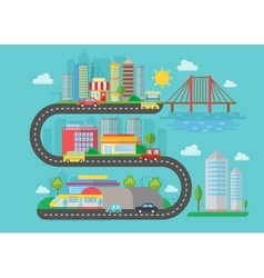 Urban modern city landscape on the s road vector image vector image