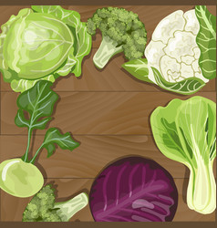 various types of cabbage on wooden background vector image
