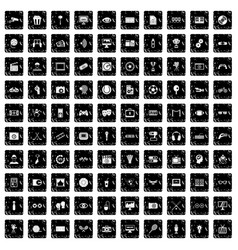 100 video icons set grunge style vector