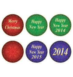 Christmas and New Year seals vector image