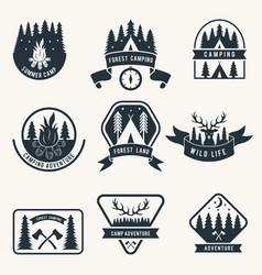 adventure monochrome badges set silhouette of vector image