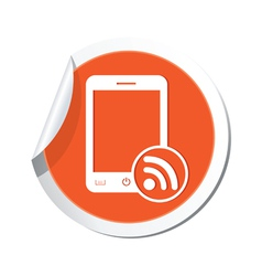 Phone rss icon orange sticker vector