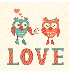 Cute card with two owls in love vector