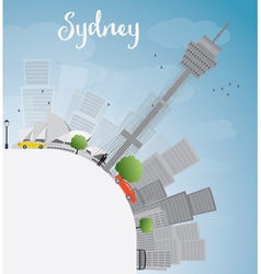 Sydney city skyline with blue sky skyscrapers vector