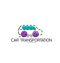Color line icon for flat design car vector