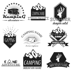 Set of camping and outdoor adventure vintag vector