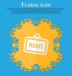 Rent floral flat design on a blue abstract vector