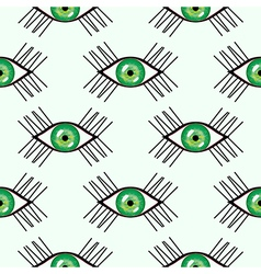 Seamless abstract pattern with closeup green eyes vector