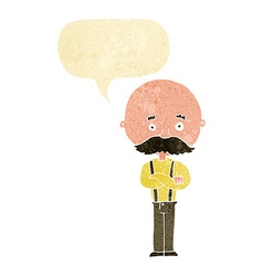 Cartoon grandfather with speech bubble vector