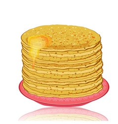 Plate of pancakes and honey vector