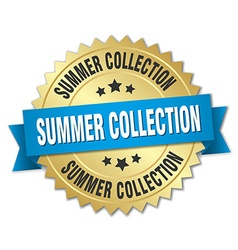 Summer collection 3d gold badge with blue ribbon vector