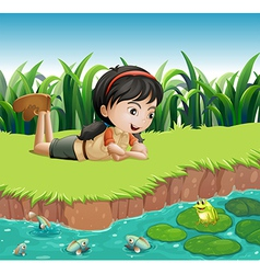 A girl beside a pond vector