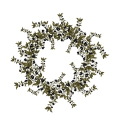 Black olives wreath on white background vector