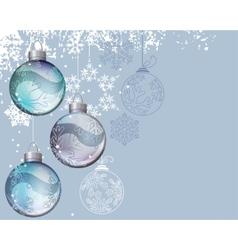 blue christmas background with glass balls vector image vector image