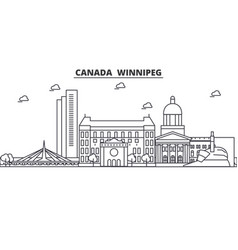 Canada winnipeg architecture line skyline vector
