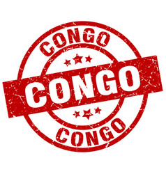 Congo red round grunge stamp vector