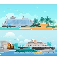 Cruise Vacation Flat Horizontal Banners Set vector image vector image