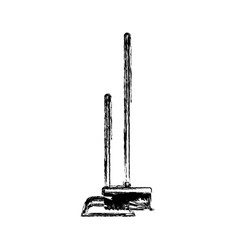 dustpan and broom in monochrome blurred silhouette vector image vector image