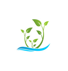 ecology leaf and wave logo vector image