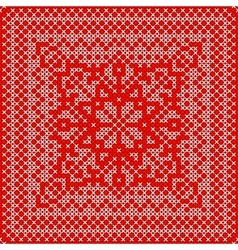 Embroidery card with cross stitch embroidered vector