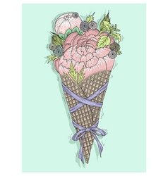 Flowers bouquet in ice cream cone with ribbon vector image