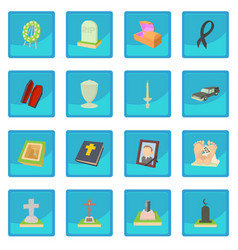 Funeral icon blue app vector