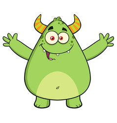 funny horned green monster cartoon character vector image