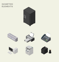 Isometric office set of strongbox office phone vector