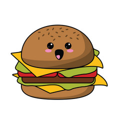 kawaii burger fast food icon vector image