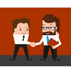 Lucky businessman is shaking hands with a vector image