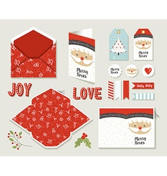 Merry christmas set printable greeting card cute vector image