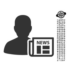 Newsmaker newspaper icon with professional bonus vector