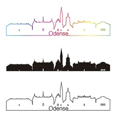 Odense skyline linear style with rainbow vector image vector image