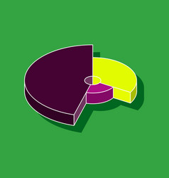 Paper sticker on stylish background pie chart vector