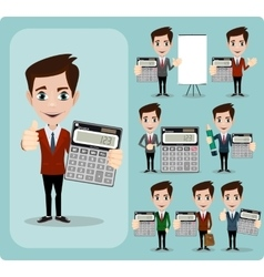 Portrait Of Happy Accountant set vector image vector image