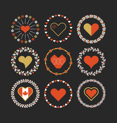 red and golden hearts circle emblem set on black vector image vector image
