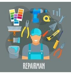 Repairman worker with work tools poster vector