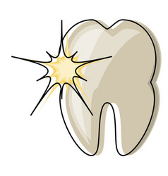 Tooth with pain icon vector