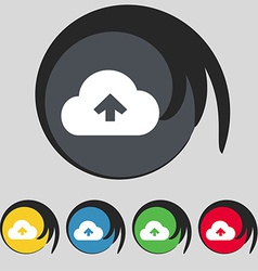 Upload from cloud icon sign Symbol on five colored vector image