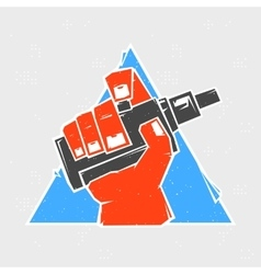 Vape hand in triangle grunge style vector