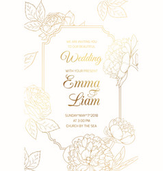 Wedding invitation golder rose peony flowers frame vector