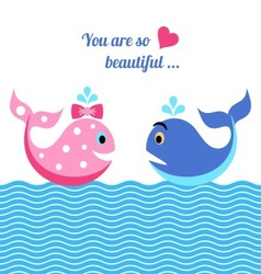 Whales in love vector