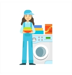 Woman washing clothing in washing machine vector