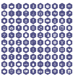 100 beauty product icons hexagon purple vector