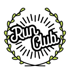 Color vintage run club emblem vector