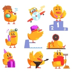 Duckling different activities set of cool vector