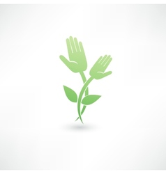 Eco hand icon vector